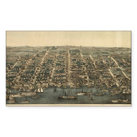 Antique Map of Alexandria, VA Sticker (Rectangular