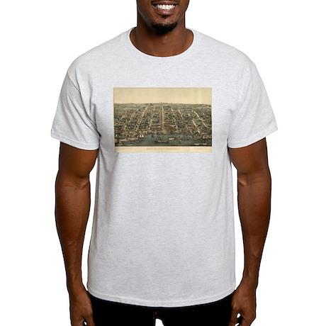 Antique Map of Alexandria, VA Light T-Shirt