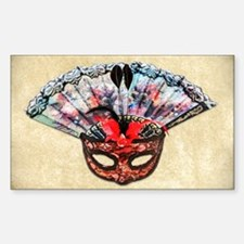 Mask and Hand Fan Sticker (Rectangle)