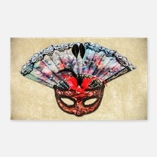 Mask and Hand Fan 3'x5' Area Rug