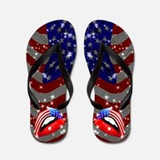 USA Flag Lipstick on Sensual Lips Flip Flops