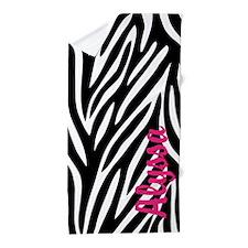 Zebra Print Pink Personalized Beach Towel