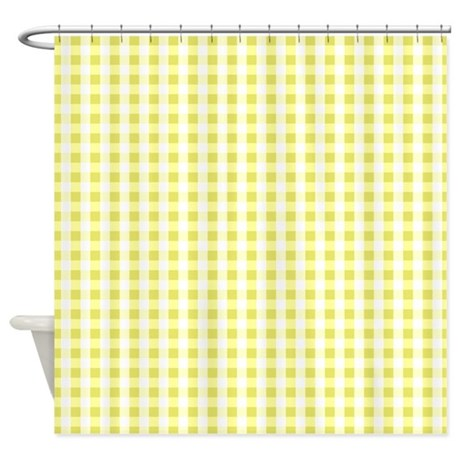 Bright Yellow White Gingham Pattern Shower Curtain by