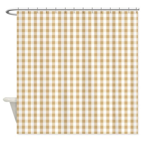 Light Brown White Gingham Pattern Shower Curtain By Clipartmegamart
