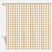 Light Brown White Gingham Pattern Shower Curtain