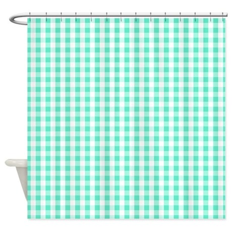 seafoam green white gingham pattern shower curtain by