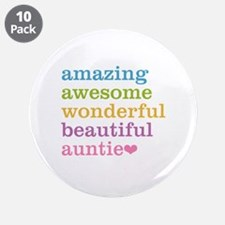 """Auntie - Amazing Awesome 3.5"""" Button (10 pack)"""