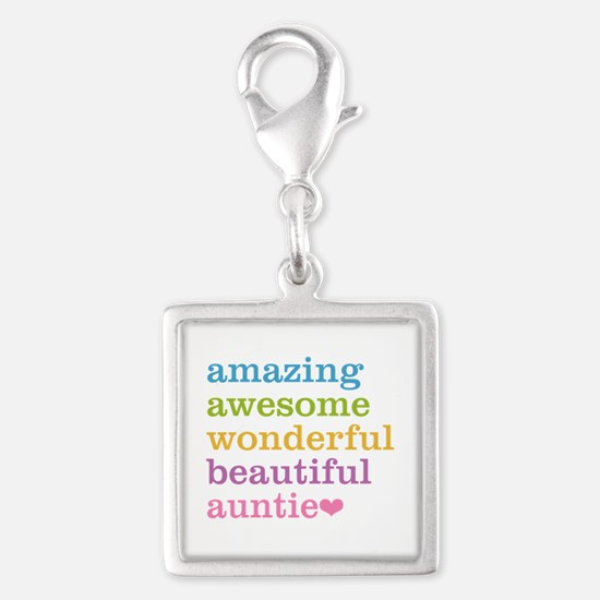 Auntie - Amazing Awesome Silver Square Charm