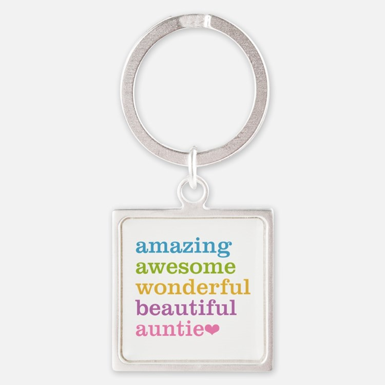 Auntie - Amazing Awesome Square Keychain