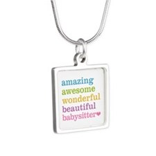 Babysitter - Amazing Aweso Silver Square Necklace