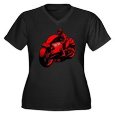 Unique Cyberpunk Women's Plus Size V-Neck Dark T-Shirt