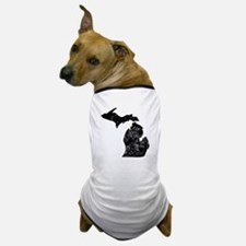 Distressed Michigan Silhouette Dog T-Shirt