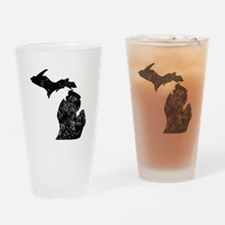 Distressed Michigan Silhouette Drinking Glass