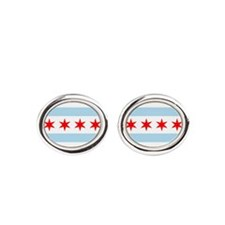 Flag of Chicago Stars and Stripes Oval Cufflinks