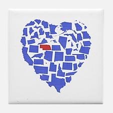 Nebraska Heart Tile Coaster