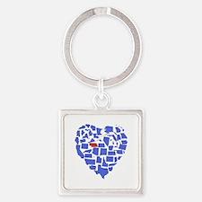 Nebraska Heart Square Keychain
