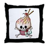Cupcake skull Throw Pillows