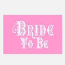 Bride To Be With Veil, Fancy White Type Pink Postc