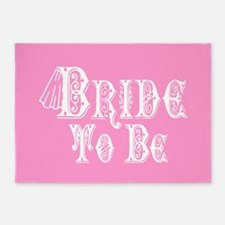 Bride To Be With Veil, Fancy White Type Pink 5'x7'