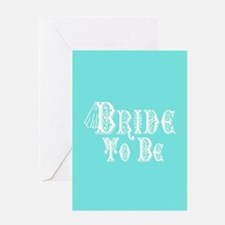 Bride To Be With Veil, Fancy White Type Teal Greet