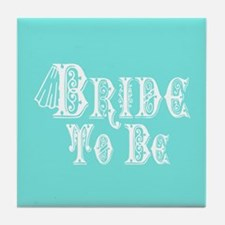 Bride To Be With Veil, Fancy White Type Teal Tile