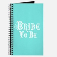 Bride To Be With Veil, Fancy White Type Teal Journ