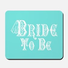 Bride To Be With Veil, Fancy White Type Teal Mouse