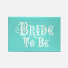 Bride To Be With Veil, Fancy White Type Teal Magne