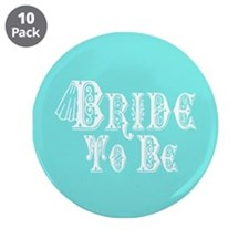 Bride To Be With Veil, Fancy White Type Teal 3.5""
