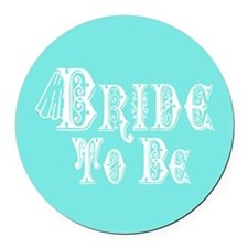 Bride To Be With Veil, Fancy White Type Teal Round