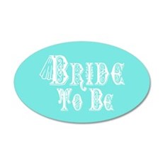 Bride To Be With Veil, Fancy White Type Teal Wall