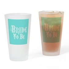 Bride To Be With Veil, Fancy White Type Teal Drink
