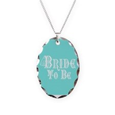 Bride To Be With Veil, Fancy White Type Teal Neckl