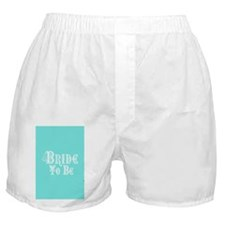 Bride To Be With Veil, Fancy White Type Teal Boxer