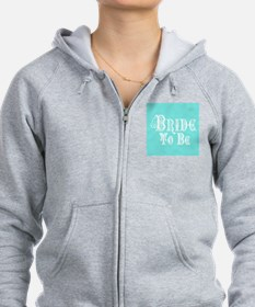 Bride To Be With Veil, Fancy White Type Teal Zip H