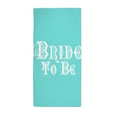 Bride To Be With Veil, Fancy White Type Teal Beach