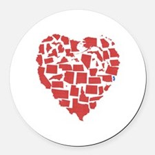 New Jersey Heart Round Car Magnet
