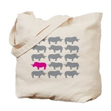 One Pink Rhino in the Herd Tote Bag