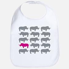 One Pink Rhino in the Herd Bib