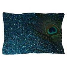 Glittery Aqua Peacock Pillow Case
