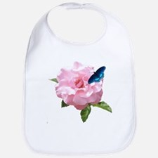 Pink Rose and butterfly Bib