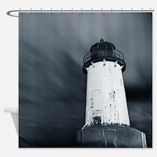 Blue Tint Lighthouse Shower Curtain