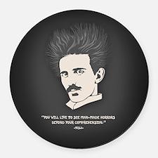 Tesla -Horrors Round Car Magnet