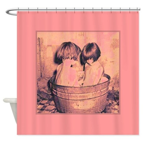 Vintage Little Girls Bath Time Pink Shower Curtain By Rebeccakorpita