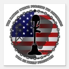 """The Nation Which Forgets Square Car Magnet 3"""" x 3"""""""