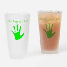 Custom Neon Green Handprint Drinking Glass