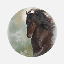 Friesian Horse Ornament (Round)
