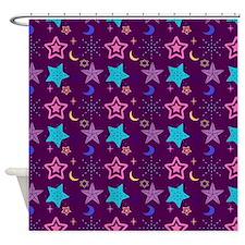 Midnight Stars Pattern Shower Curtain