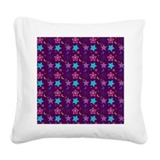 Midnight Stars Pattern Square Canvas Pillow