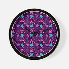 Midnight Stars Pattern Wall Clock